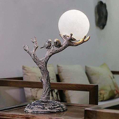 HYY-YY - Lámpara de escritorio LED de madera estimulada de resina natural, vintage, con pantalla de cristal esférica, tronco de árbol y pájaros, cuerpo hecho para dormitorio, estudio, decoración, Gi