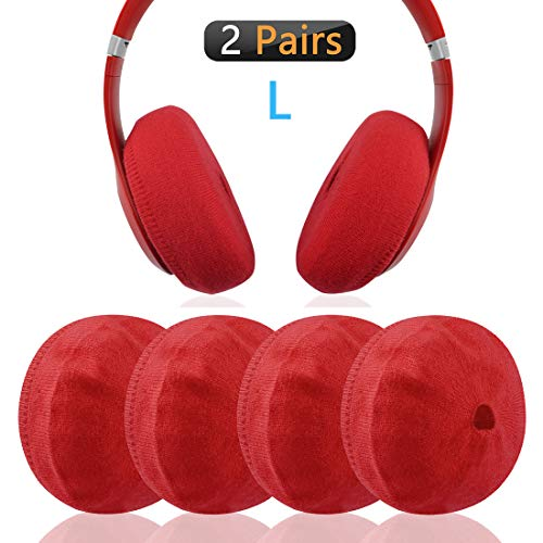 Geekria Sweater Earpads Cover for Beats Studio3, Studio2, Pro, Executive, Skullcandy Hesh3 Headphones/Stretchable Knit Fabric Earcup Protectors/Fits 3.15' - 5.51' Headset Ear Cushions (Red)