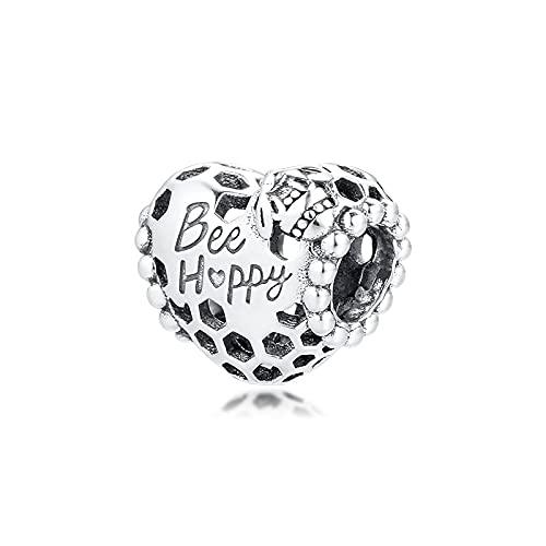 Pandora S925 colgante de joyería de plata esterlina encantos para pulseras collares joyería de plata esterlina feliz abeja panal corazón cuentas envío gratis