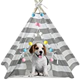 Ukadou Dog Teepee Tent for Dogs, Pet Teepee Tents with Mat, Hard Wooden Poles, Grey & White Stripe(Dia. 28in,Medium Size, Suitable for Pets Under 15 Pounds)