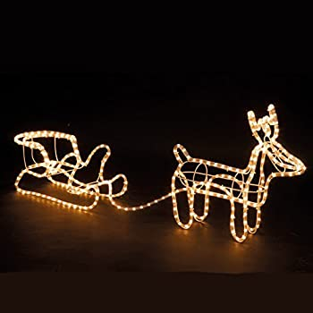 Large Christmas Reindeer & Santa Sleigh Outdoor Garden Light Rope Decoration