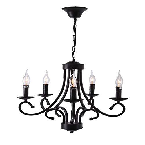 Iglobalbuy Vintage Eisen Kronleuchter 5 Kerze Stil Decke Pendelleuchte für Wohnzimmer Esszimmer - 4