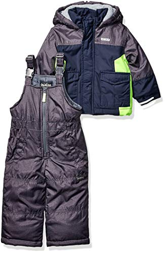 Osh Kosh Boys' Toddler Ski Jacket and Snowbib Snowsuit Set, Navy Fall, 2T