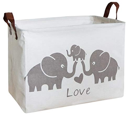 HIYAGON Rectangular Laundry Baskets,Fabric Storage Bin Storage Boxes,Collapsible Storage Basket for Toy, Clothes,Books.Shelves Basket(Love Elephants)