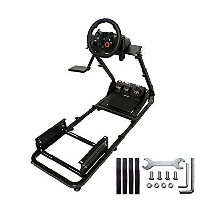Marada Racing Simulator Cockpit Steering Wheel Stand Compatible with T500, FANTEC, T3PA/TGT, G25, G37, G29/T300RS Cockpit Driving Seat Wheel Pedals and Seat Not Included