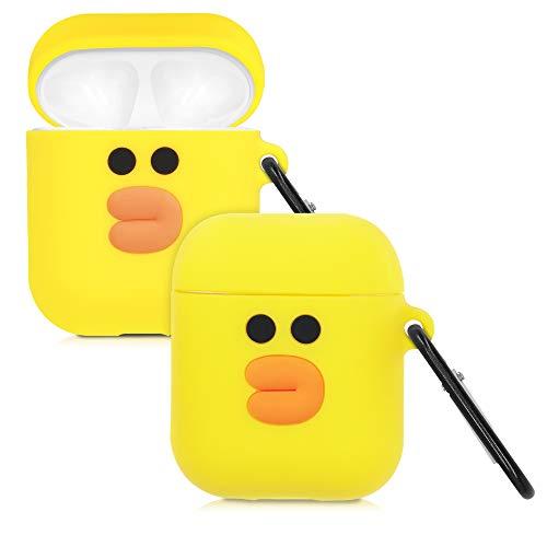kwmobile Schutzhülle kompatibel mit Apple AirPods - Hülle Kopfhörer - Silikon Hülle Cover Entchen Orange Schwarz Gelb