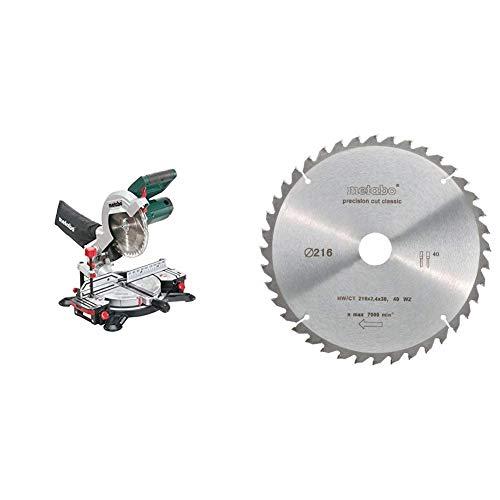 Metabo KS 216 M 619216000, Sierra Ingletadora + Metabo 628060000 216mm hoja de sierra circular