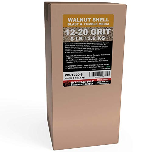 8 lbs or 3.6 kg Ground Walnut Shell Media 12-20 Grit - Medium Course Walnut Shells for Tumbling, Vibratory Or Blasting
