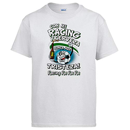 Camiseta Frase con mi Racing y Cerveza Nunca Hay Tristeza Santander fútbol - Blanco, 3-4 años