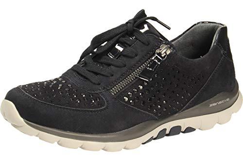 Gabor Damen Low Top Sneaker, Frauen Schnürhalbschuhe,Wechselfußbett, sportschuh Halbschuh strassenschuh schnürer,Pazifik (Strass),40 EU / 6.5 UK
