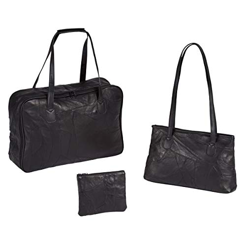 Unbekannt TRI Taschen-Set Echt-Leder, 3 Taschen Reisetasche Handtasche & Kosmetiktasche Reisegepäck Weekender Urlaub, Patchwork-Leder