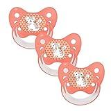 Dentistar® Silikon Schnuller 3er Set - Baby Nuckel Größe 1, 0-6 Monate - Beruhigungssauger für Babies und Kleinkinder - zahnfreundlich und kiefergerecht - Made in Germany - BPA frei - Katze koralle