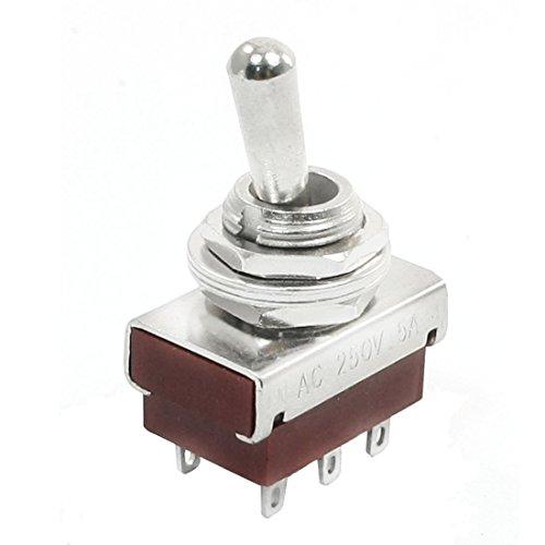 Montaje en panel de repuesto DPDT Interruptor de palanca de bloqueo de 6 pines CA 250 V 5 A