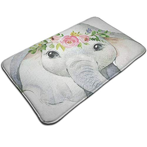 Cute Elephant With Wreath Flannel Welcome Door Mat Non-Slip Absorbent Floor Mats Carpet Doormats Indoor Rug For Bedroom Kitchen Entrance Bathroom 50 X 80 Cm