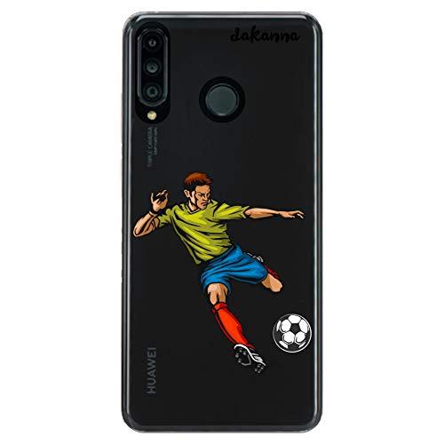 dakanna Funda para Huawei P30 Lite | Jugador de Fútbol | Carcasa de Gel Silicona Flexible | Fondo Transparente
