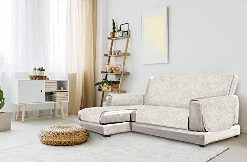 "Italian Bed Linen ""Glamour"" rutschfest Sofa Abdeckung mit Chaise-Longue Links, Beige, 190cm"