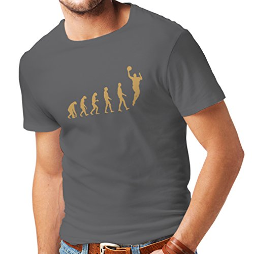 Camisetas Hombre evolución de Baloncesto - Canasta de la Calle, me Encanta Este Juego, Gran Fan de Regalo (Medium Grafito Oro)