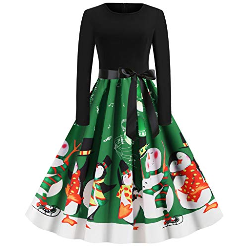 yazidan🌿 Damen Kurzarm Drucken Weihnachtskleid Weihnachtsdeko Cocktailkleid Pullover Kleider Spitze Kleidung Weihnachtsmann Elch Schlitten Party Swing Festlich Kleid