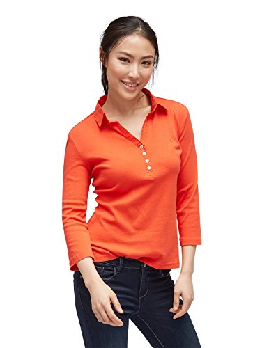 TOM TAILOR Damen solid Polo Shirt Poloshirt, Rot (Grenadine Red 4556), XXX-Large