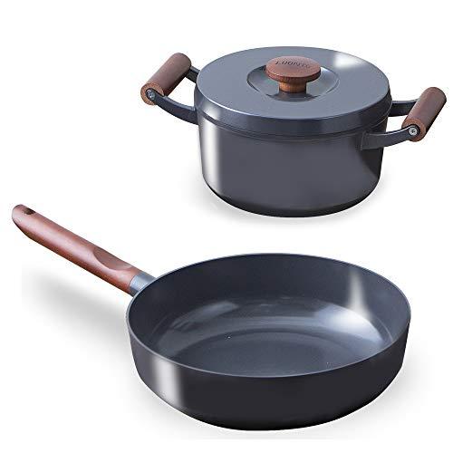 アイリスオーヤマ 深型フライパン 無加水鍋 IH /ガス火対応 「ルオント」 フライパン 鍋 3点 セット ダークグレー LUO-SE3G