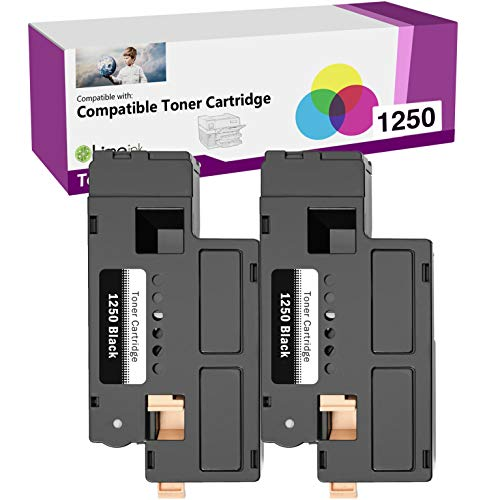 Limeink 2 Black Compatible High Yield Toner Cartridges Replacement for Dell 1250 Laser Printers 1250c 1350cnw 1355cn 1355w 1355cnw C1760nw C1765nf C1765nfw C1760