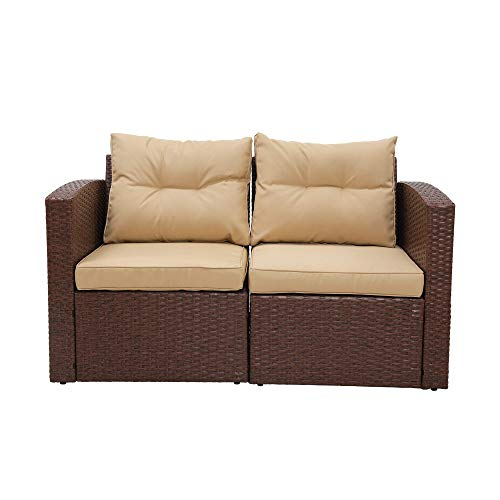 Patio Furniture Corner Sofa Wicker Loveseat, 2 Piece Rattan Outdoor Auminum Sectional Sofa Set with Tan Cushions,Extra Chair for SUNVIVI OUTDOOR Furniture (Brown)