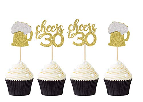 48 PCS Mixed Cheers to 30 Cupcake Toppers | Gold Glitter Beer Mug Cupcake Picks Party Decoration Supplies - Set of 2 (24pcs each)