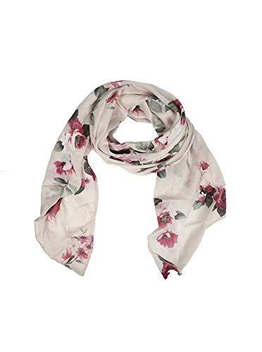 Zwillingsherz Seiden-Tuch Damen Blumen Muster - Made in Italy - Eleganter Sommer-Schal für Frauen - Hochwertiges Seidentuch/Seidenschal - Halstuch und Chiffon-Stola Dezent Stilvoll beige