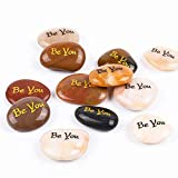 ROCKIMPACT 12PCS Be You Engraved Inspirational Stones, Pocket Word Stone River Rock, Zen Palm Stone, Positive Encouraging Rocks, Proud Independent Strong Braver Than You Believe (Pack of 12, Be You)
