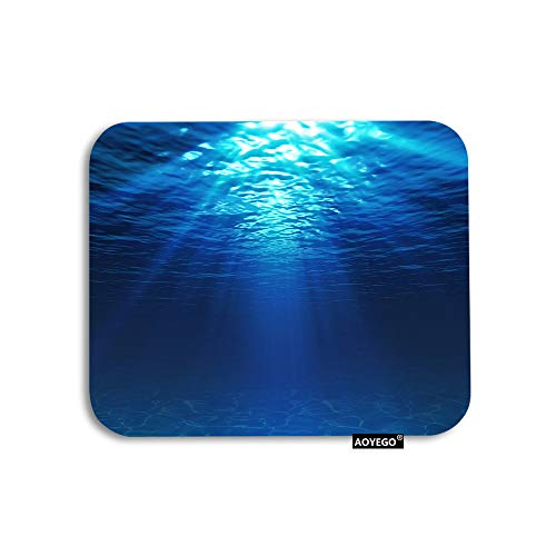 AOYEGO Ocean Mouse Pad Deep Sea Underwater Seabed Sunlight Water Marine Gaming Mousepad Rubber Large Pad Non-Slip for Computer Laptop Office Work Desk 9.5x7.9 Inch Blue