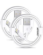 【Apple MFi-certifierad】iPhone laddningskablar, 2-pack iPhone-belysning till USB-kabel 6,6 fot, snabb iPhone-laddnings- och synkroniseringssladd för iPhone 12/12mini/11/11 Pro/SE/X/XS/XR/8/7/6, iPad, Airpods och mer -vit