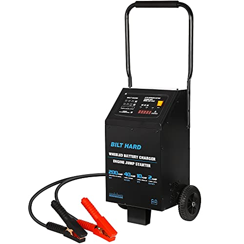 BILT HARD 200 Amp 40 Amp 6V/12V Automotive Battery Charger with Engine Starter, Heavy Duty Fully Automatic Wheeled Battery Charger and Maintainer for Cars, Trucks, SUVs, Marine, RV Batteries