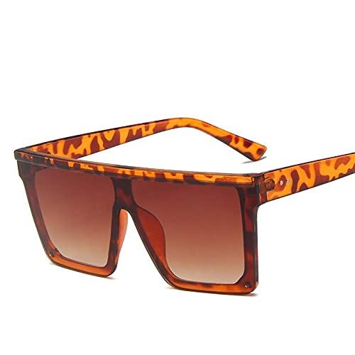 QWKLNRA Gafas De Sol para Hombre Montura De Leopardo Lentes Azules Marrones Gafas De Sol Deportivas Polarizadas Mujeres De Gran Tamaño Marco Grande Cuadrado Lente De Gradiente Superior Plana Gafas