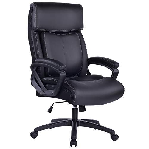 Bosmiller Bürostuhl Chefsessel Drehstuhl Computerstuhl Sitzhöhenverstellung Office Stuhl Polsterung (9080Schwarz)