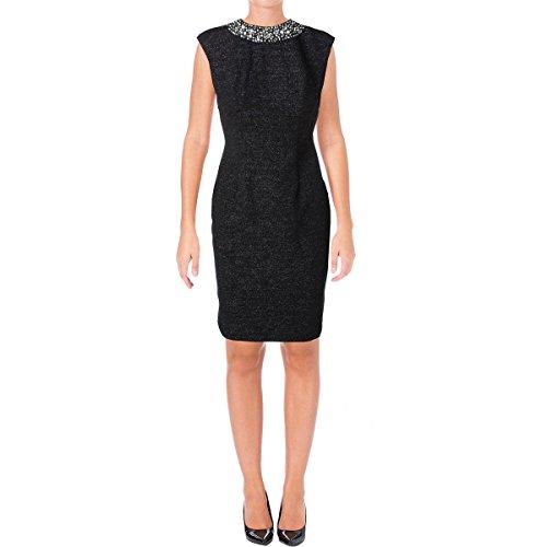 Eliza J Women's Glitter Dress with Beaded Neckline, Black, 14