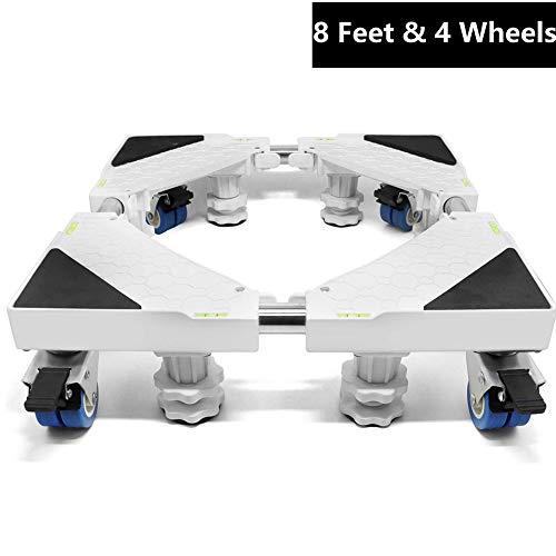 Super Stabiles Waschmaschine Untergestell Sockel Mit 8 Füße und 4 Räder, Verstellbare Sockel für Trockner Waschmaschine Gefrierschrank und Kühlschrank Erhöhter Beweglicher Standfuß