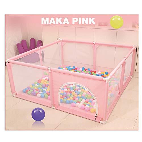 STEPHI Parque Plaza Cuna de Viaje Play Center Fence con Malla Transpirable para bebés   Área Segura para Interiores o Exteriores-Rosa-1.5 × 1.5