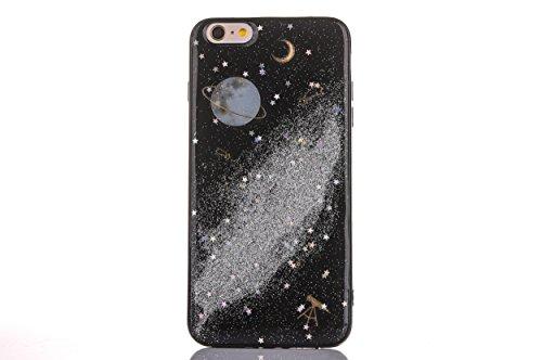 CrazyLemon Hülle für iPhone 8 iPhone 7, 3D Schön Bunt Bling Funkeln Grau Star Mond Planet Silber Sternennacht Galaxis Epoxy-Prozess Weich TPU Hülle für iPhone 8 iPhone 7 4.7