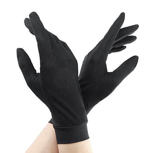 シルク手袋 レディース 手袋 シルク100% 優しい絹手袋 スキンケア UVカット 手あれ対策・紫外線対策 おやすみ手袋にも(ブラック)