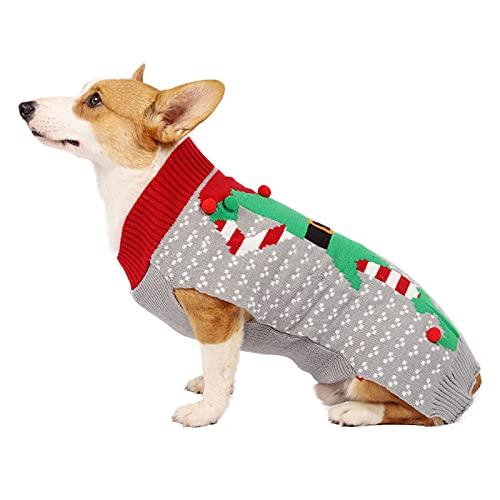 Suteres de Navidad para perros y gatos con decoracin de bola 3D, ropa de punto para mascotas de invierno de Elfo, ropa de da festivo clido disfraz para gatos y perros, gris, L