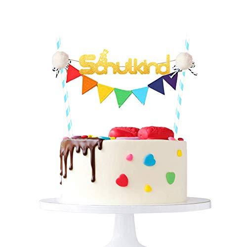 Schulkind Tortendeko Bunt Schulanfang Kuchen Dekoration Schulkind Cake Topper Mädchen und Junge