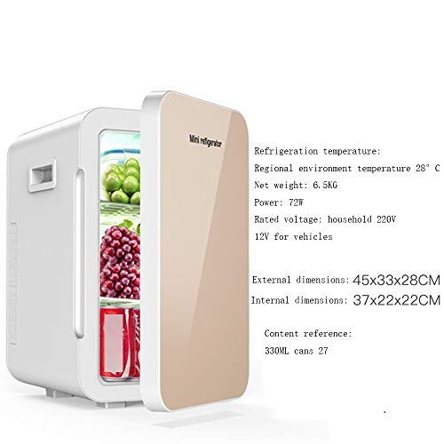 Xyanzi Mini Fridge Mini Beverage Fridge,22L Family Car Dual-use Refrigerator Electric Cooler and Warmer for Cars Road Trips Homes Offices & Dorms (Color : Gold, Size : Dual core)