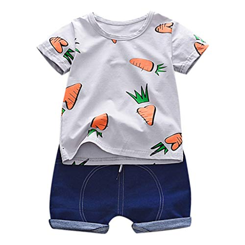 DWQuee Little Girls Clothing Set Stripe Ruffles Vest T-Shirt+Shorts for 2-7 Years