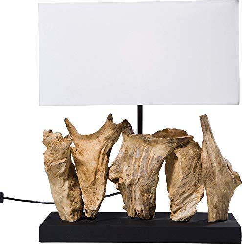 Kare Design Tischleuchte Nature Vertical, moderne Design Nachttischlampen aus Treibholz, Weiß (H/B/T) 43x35x15cm