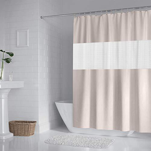 DUFU Duschvorhang Anti Schimmel Waschbar Bad Vorhang Textil aus Polyester und Eva für Badezimmer 200x180cm mit 12 Duschvorhangringen-Beige