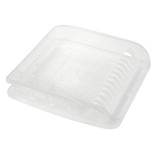 keeeper Geschirrabtropfkorb mit Tablett, BPA-freier Kunststoff, 39,5 x 39,5 x 8 cm, Pierre, Transparent