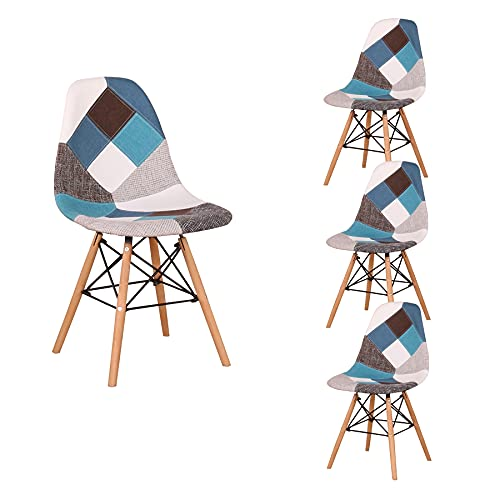 BenyLed Lot de 4 Chaises de Salle à Manger Rétro Patchwork Chaise Tissu Salle à Manger Chaise pour Cuisine Salle à Manger (Bleu)