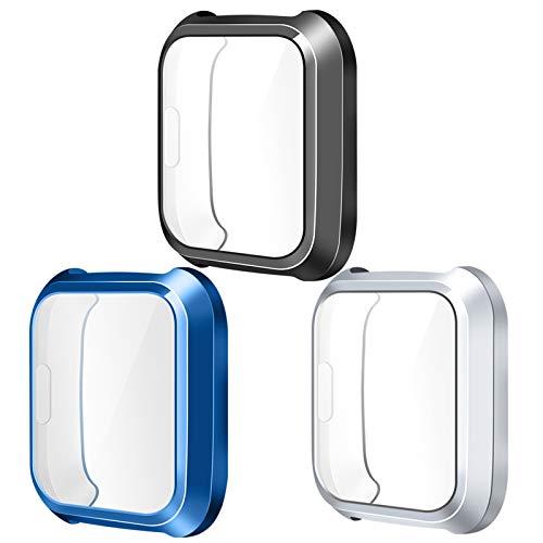 KIMILAR Hülle Kompatibel mit Fitbit Versa Lite Schutzhülle (Nicht für Versa/Versa 2),[3 Stück] Vollständige Abdeckung TPU Cover Case Schutzfolie, Blau/Schwarz/Silber