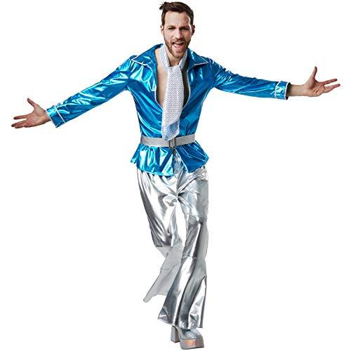 dressforfun 900501 - Herrenkostüm Disco Master, Schillerndes Disco-Outfit aus Glanzstoff mit Gürtel und Halstuch (XXL | Nr. 302401)