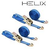 HELIX ラッシングベルト 2本セット ラチェット式 ベルト幅 25mm 固定側 1m 巻側 5m 破断荷重1000kg フック Jタイプ 1T 荷締め 固定 日本語説明書付き